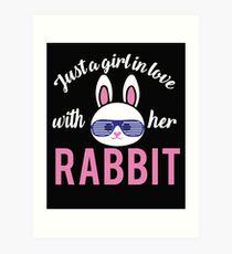 Girl hare love woman loves rabbit Art Print