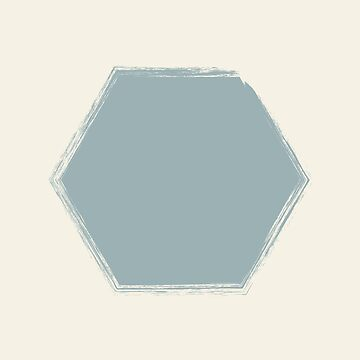 Pale Blue Heptagon On Cream Stencil Effect by broadmeadow