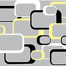 Yellow Black White Retro Square Pattern Gray Background by ValeriesGallery