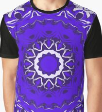Oceans of Sky Sapphire Blue Silver Mirror Kaleidoscope Digital Painting Graphic T-Shirt