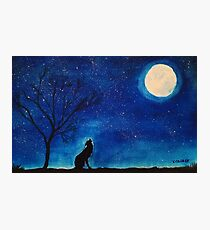 Starry Blues Original Watercolor Painting. Howling Wolf. Photographic Print