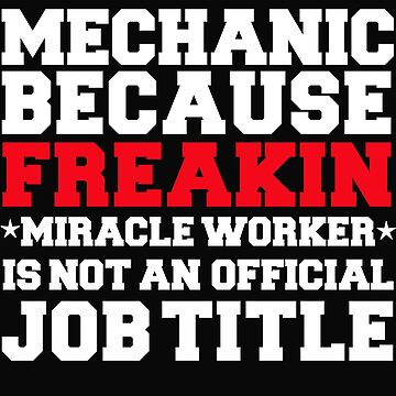 Mechanic because Miracle Worker not a job title by losttribe