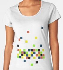 Retro Falling Blocks Tile Pattern - Digital Illustration - Graphic Design Women's Premium T-Shirt