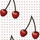 Pop Art Cherries on Pink Dots repeat by ElysiumDesign