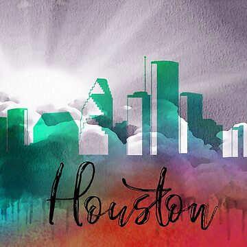 Houston | CIty Skyline | Colorful Watercolor by PraiseQuotes
