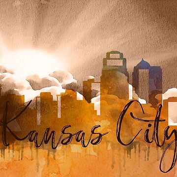 Kansas City | CIty Skyline | Colorful Watercolor by PraiseQuotes