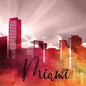 Miami | CIty Skyline | Colorful Watercolor by PraiseQuotes