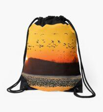 Snow Geese Flying at Sunrise Drawstring Bag