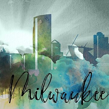 Milwaukee | CIty Skyline | Colorful Watercolor by PraiseQuotes