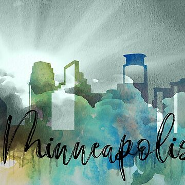 Minneapolis | CIty Skyline | Colorful Watercolor by PraiseQuotes