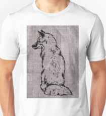 Fox on Burlap Unisex T-Shirt