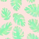 Tropical Pastel Pink and Green Monstera Leaf by AlexandraStr