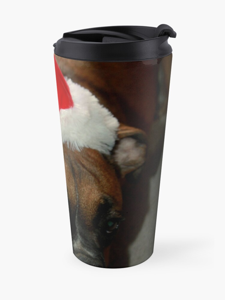 Alternative Ansicht von Dino ~ Santas kleiner Helfer ~ Boxer Dog Series Thermobecher