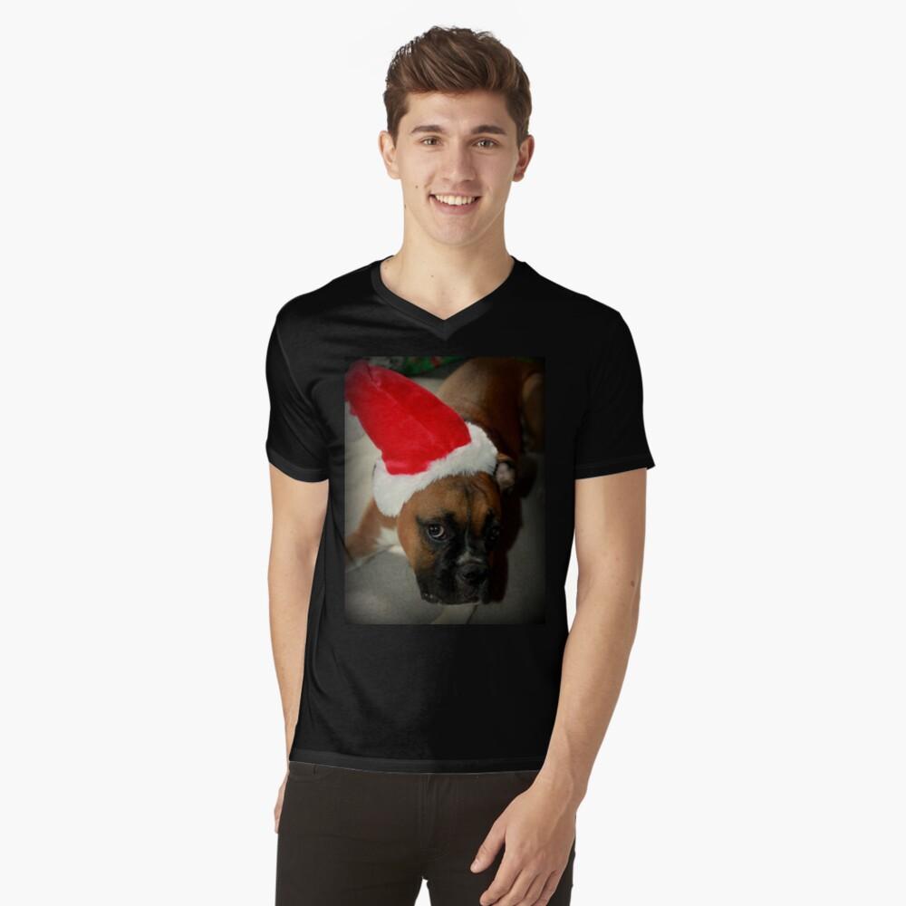 Dino ~ Santas kleiner Helfer ~ Boxer Dog Series T-Shirt mit V-Ausschnitt