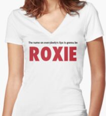 Chicago - The Name Of Everybody's Lips is Gonna Be Roxie Women's Fitted V-Neck T-Shirt