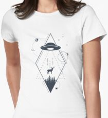UFO. Double Exposure. Geometric Style Women's Fitted T-Shirt