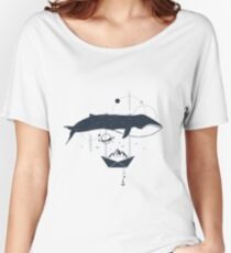 Whale In Space. Double Exposure. Geometric Style Women's Relaxed Fit T-Shirt