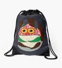 Scary alone at night in the woods. Drawstring Bag