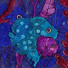 Fish Family in Seaweed, Blue & Purple, Underwater by clipsocallipso