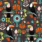 Colorful Toucans On Grey  by TigaTiga