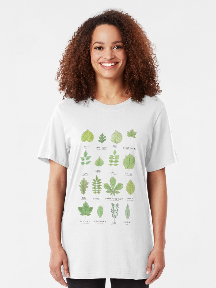 Alternate view of Leaf ID Chart Slim Fit T-Shirt