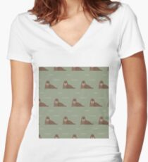 Walrus party Women's Fitted V-Neck T-Shirt