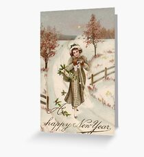 winter, vintage clothing, people, art, adult, veil, illustration, painting, vertical, yellow, color image, pattern, clothing, retro style, old-fashioned, adults only Greeting Card