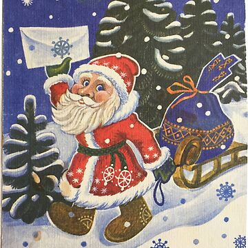 Santa Claus, Painting, Cartoon, christmas, winter, decoration, art, celebration, design, pattern, illustration, painting, snowman, snow, old, color image, old-fashioned, retro style, cards, tradition by znamenski