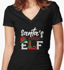 Cute Elf Gift Family Suitable for Christmas Funny T-Shirt Women's Fitted V-Neck T-Shirt