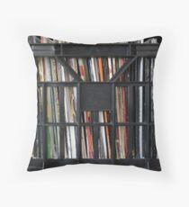 Vinyl Record Rock, Metal, Hip Hop, Rap, Reggae, Jazz Albums DJ Crate Collection 1 Throw Pillow