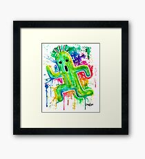 Cute Cactuar - Running Watercolor - Final fantasy - Jonny2may - Awesome!  Framed Print