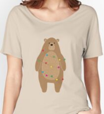 Cute Bear Wrapped In Colorful Light Chain, Digital Drawing Women's Relaxed Fit T-Shirt