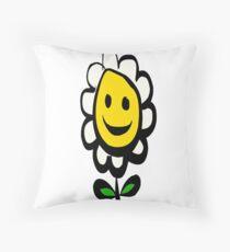 Smiling Daisy Flower Throw Pillow