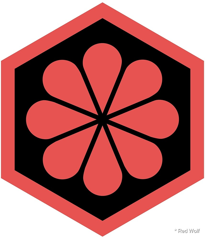 Geometric Pattern: Hexagon Flower: Black/Red by * Red Wolf