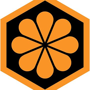 Geometric Pattern: Hexagon Flower: Black/Orange by redwolfoz