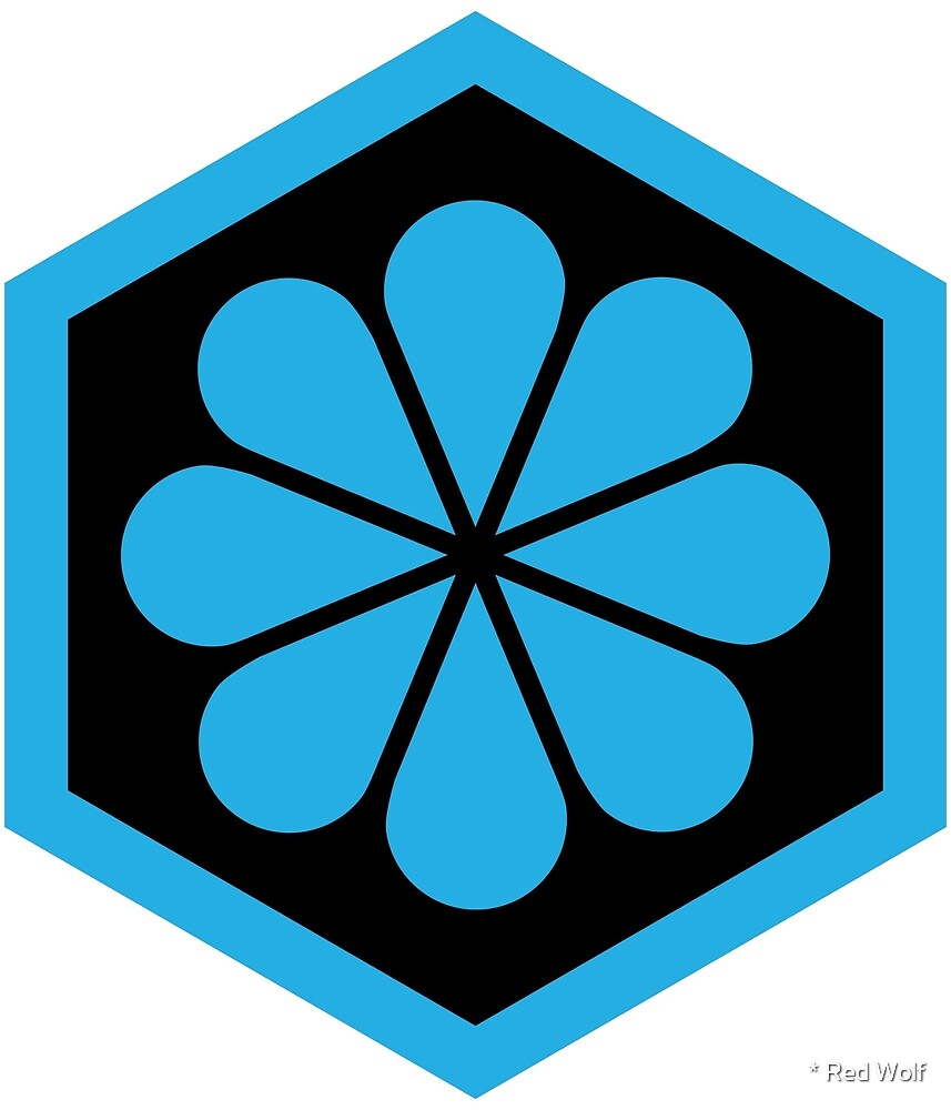 Geometric Pattern: Hexagon Flower: Black/Blue by * Red Wolf