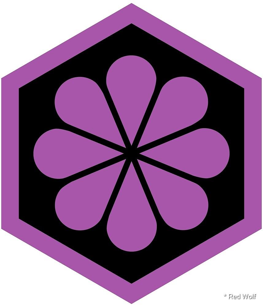 Geometric Pattern: Hexagon Flower: Black/Purple by * Red Wolf
