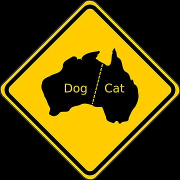 Australia Yellow Sign Cat and Dog Head by studiopico