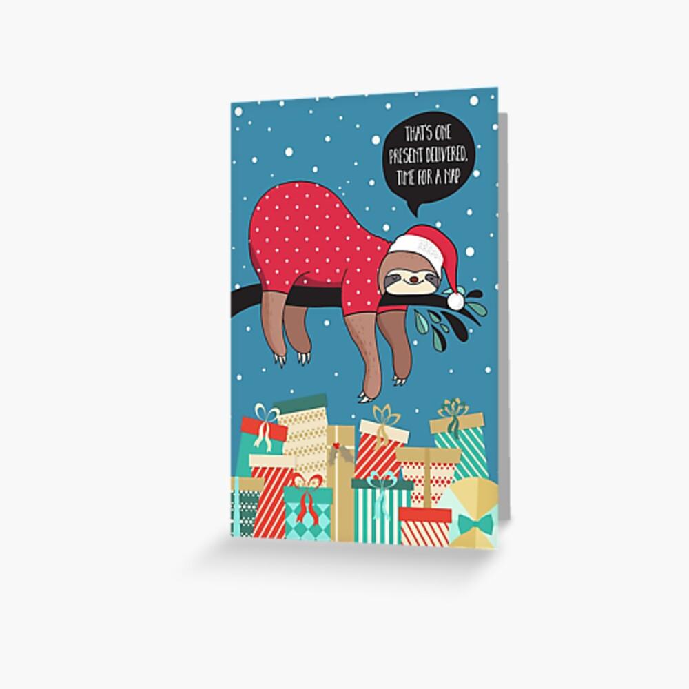 Lustige Weihnachtskarte - der Sloth Santa Grußkarte