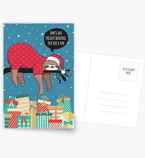 Funny Christmas Card - The Sloth Santa Postcards