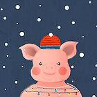 Christmas Pig with fairy ligths by ShowMeMars