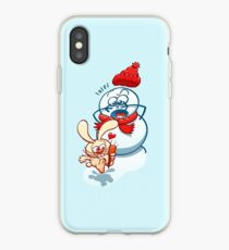 Naughty bunny stealing the carrot nose of a snowman iPhone Case