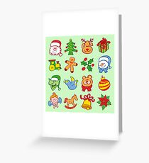 Christmas characters and ormanents in a colorful pattern Greeting Card