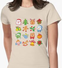 Christmas characters and ormanents in a colorful pattern Women's Fitted T-Shirt