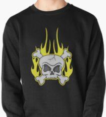Skull & Crossbones Flaming Dark Pullover