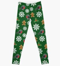 Christmas / Winter Robin Holly Gingerbread Man Snowflakes Pattern Green Leggings