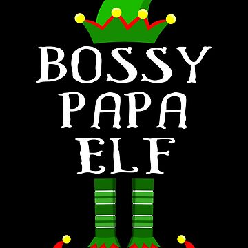 Im The Bossy Papa Elf Shirt Family Matching Outfits PJ Matching Elf Christmas group green pjs costume pajamas for siblings, parents, friends funny Xmas quote hat shoes by bulletfast