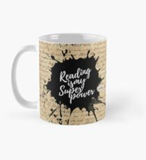 Reading is my Superpower Splatter Typography Quote Art (Vintage Paper) Classic Mug