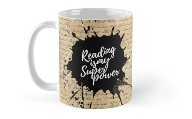 Reading is my Superpower Splatter Typography Quote Art (Vintage Paper) by mydoodlesateme