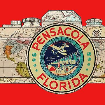 Map Camera with Pensacola Florida Vintage Travel Decal image in the Lens by Drewaw